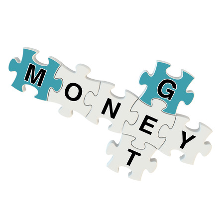 Get money 3d puzzle on white background photo