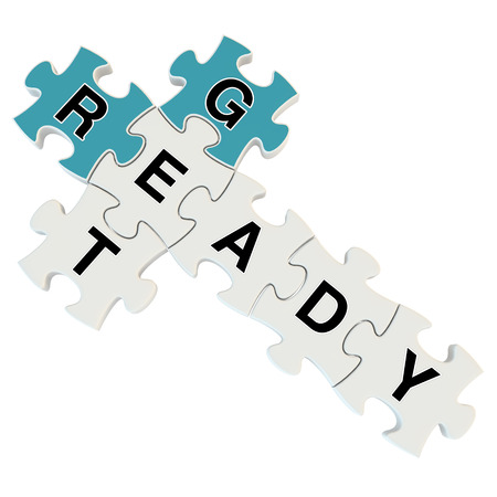 eagerness: Get ready 3d puzzle on white background