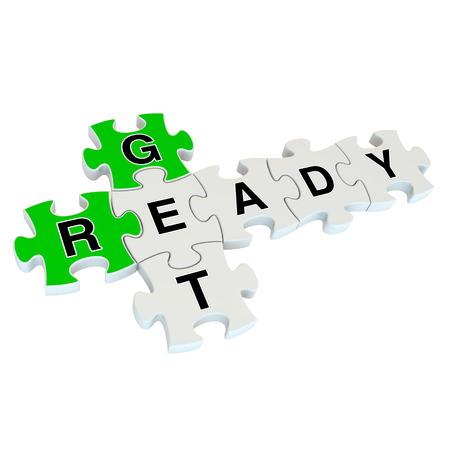 get ready: Preparatevi puzzle 3D su sfondo bianco