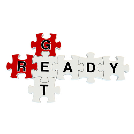 Get ready 3d puzzle on white background