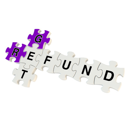 Get refund 3d puzzle on white background photo