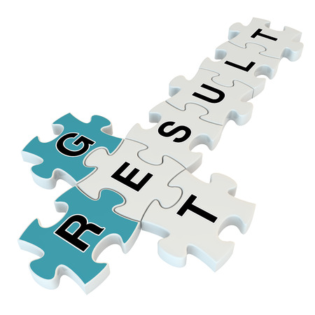 Get result 3d puzzle on white background Stock Photo