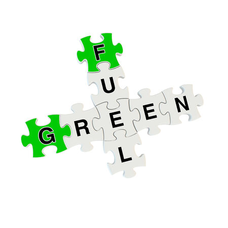 Green fuel 3d puzzle on white background Stock Photo
