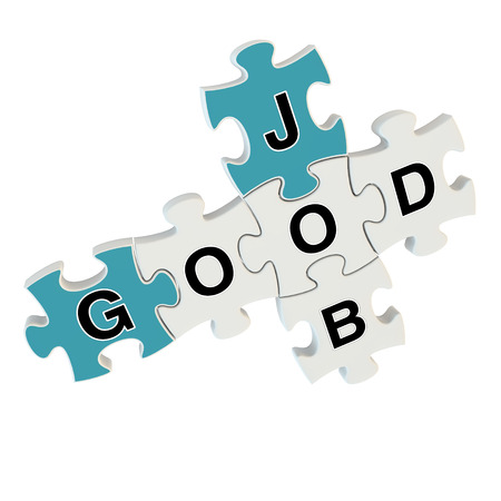 Good job 3d puzzle on white background photo