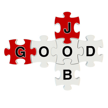 Good job 3d puzzle on white background photo