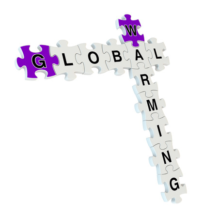 Global warming 3d puzzle on white background