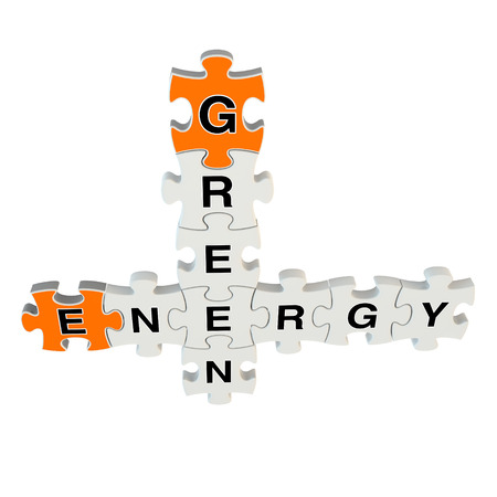 Green energy 3d puzzle on white background photo
