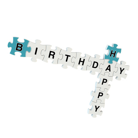 Happy birthday 3d puzzle on white background photo