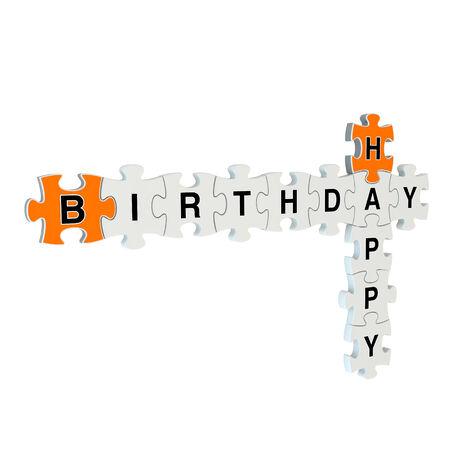 Happy birthday 3d puzzle on white background Stock Photo