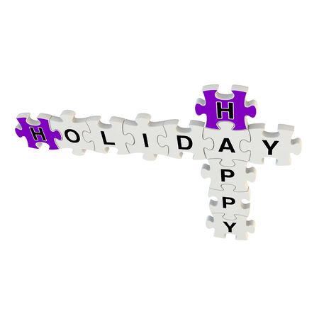 positiveness: D�a de fiesta feliz 3d rompecabezas en el fondo blanco