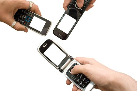 three mobile phones with empty screens on white Stock Photo