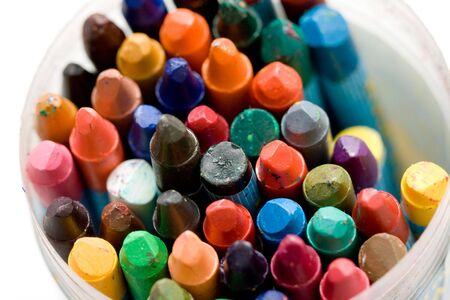 a variety of differrent color old wax crayons