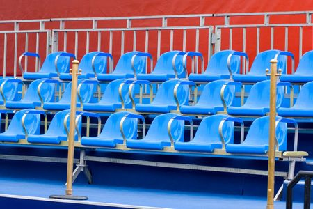 brigt: tribune with brigt blue chairs Stock Photo