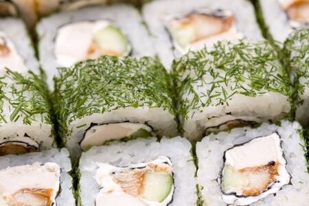 japenese: rolls with chicken and dill close-up Stock Photo