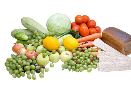 different types of natural food on white Stock Photo