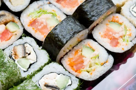 japenese: traditional japanese rolls close up