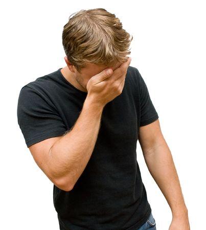 sad young man on white