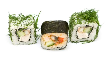 hotate: A set of japanese rolls on neutral background