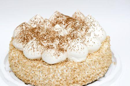 fresh cake on neutral background photo