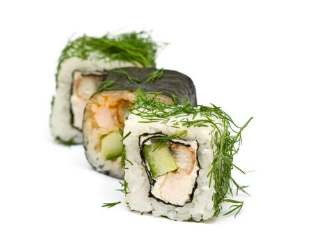 A set of japanese rolls on neutral background photo