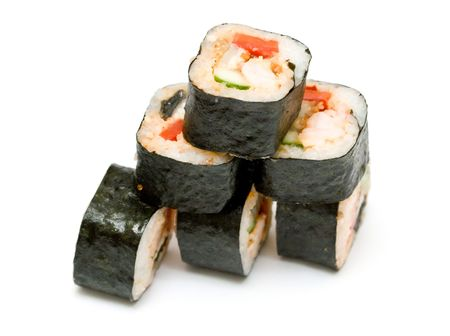 A set of japanese rolls on neutral background