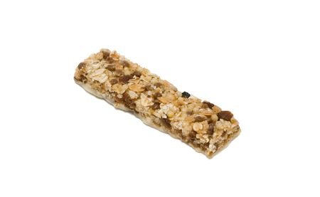 fitness bar with raisins islated on white