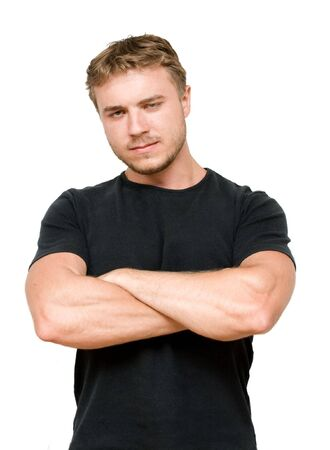 young man in black shirt on white