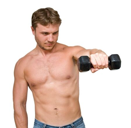 young man with black dumbbells photo