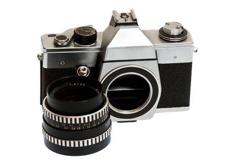 reflex: vecchio corpo della fotocamera reflex separato dalla lente