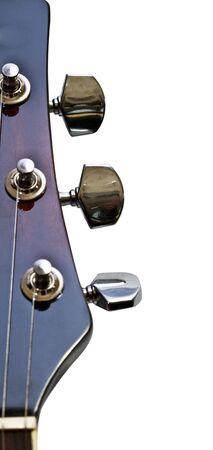 6 string guitar strings on white closeup