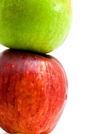 red and green apples close up isolated Stock Photo - 4893051