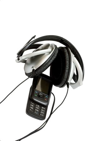 mobile phone with headphones on white background Stock Photo