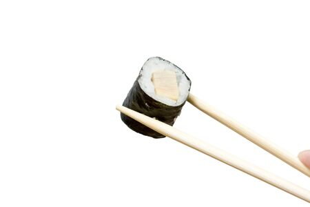 japenese: sushi and chopsticks on the neutral background