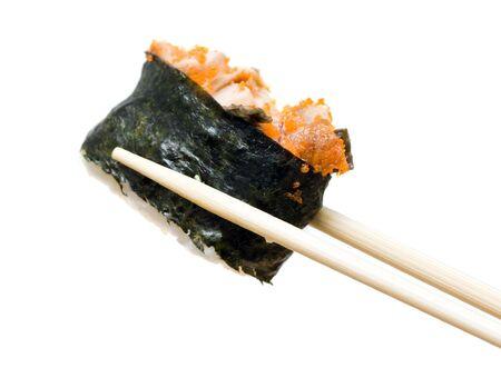 japenese: sushi y palillos aisladas Foto de archivo