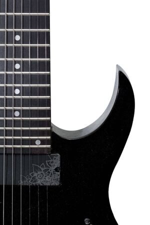 black 8th string guitar isolated