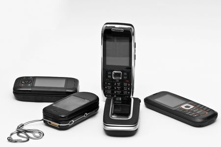 mobile phones on neutral background