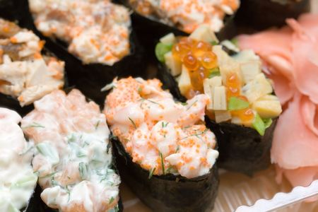 different types of sushi and a ginger  Stock Photo