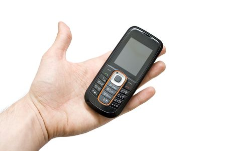 busines: mobile phone on white background