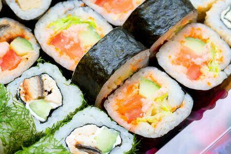 japenese: tradicional japon�s rollos close up