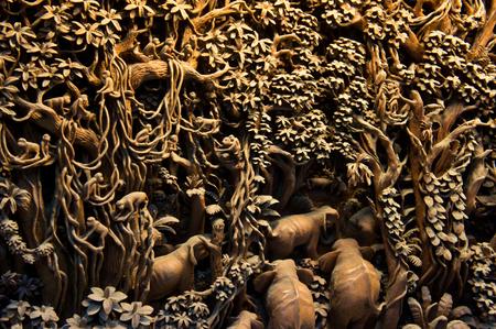 jungle with elephants and monkeys (teak tree, Thailand)