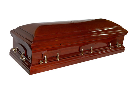 opened coffin isolated on white background