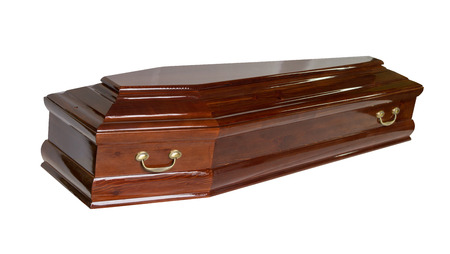 coffin isolated on white background Stock Photo