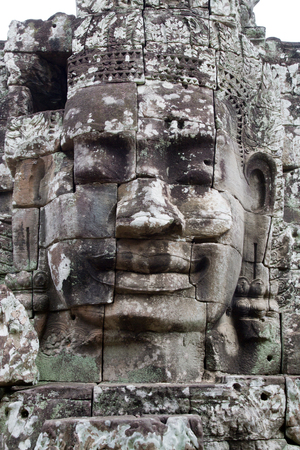 face in cambodian temple closeup Stock Photo