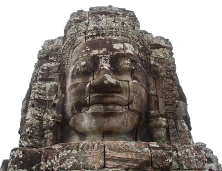 face in cambodian temple isolated