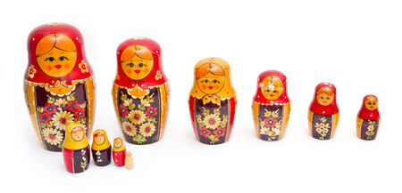 russian dolls on white background Stock Photo