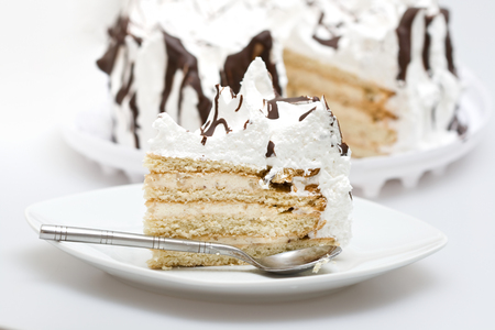 piece of cake in a glass plate