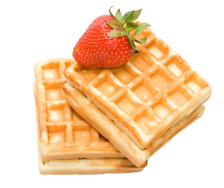waffles and strawberry isolated on white Stock Photo