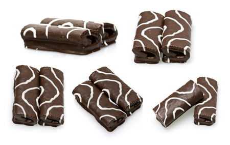 set of chocolate cakes isolated on white