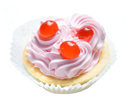 cake with cream isolated on white Stock Photo