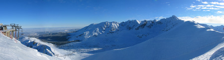 elevators in snowy landscape of skiing resort